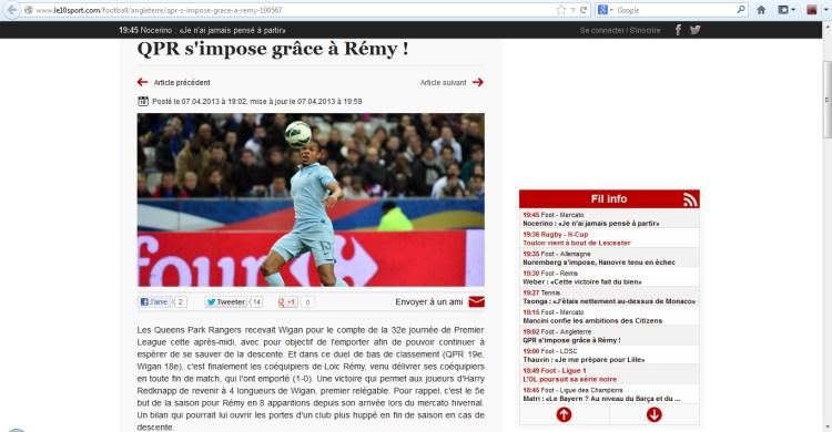 Ein Screenshot des mittlerweile geänderten Artikels, der den vermeintlichen Siegtorschützen Loic Rémy huldigt.